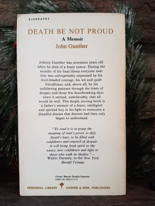 Shabby Sunday: Death Not Be Proud by John Gunther – 1965